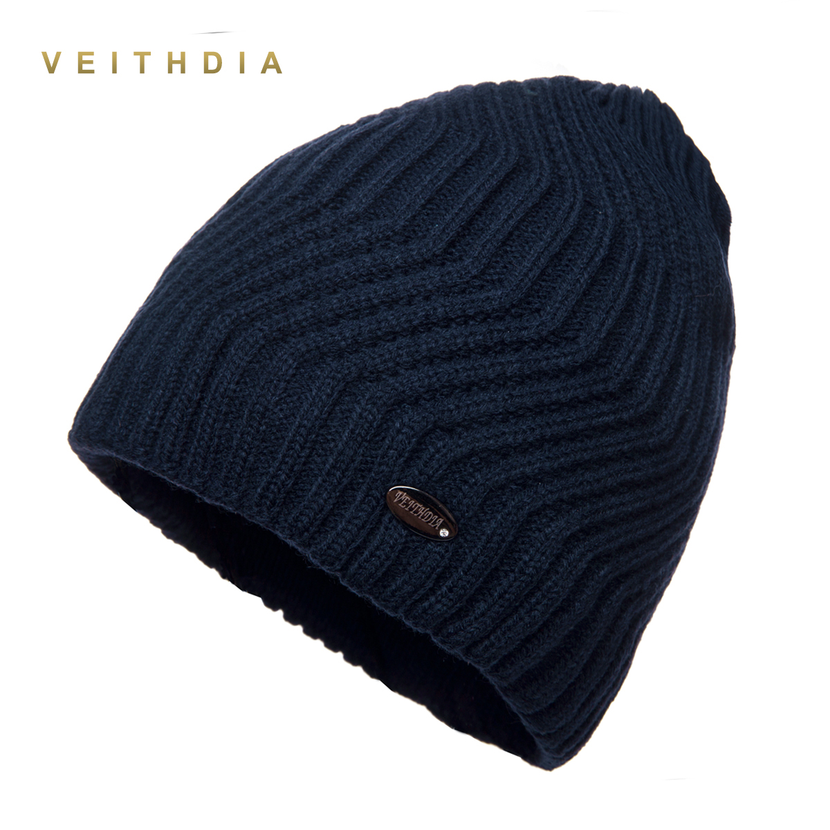 VEITHDIA Men Winter Hat   Skullies   Hats   beanies   Knitted plus velvet Patchwork Color Cap Men's Hat Gorro cap Thicken warm