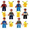 12 unids set GO Pikachu POKEMON figuras de Muñecas bloques de construcción de Juguetes de regalo de Navidad figuras de acción Juguetes de Anime Charmander Eevee