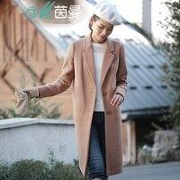 נשים של חורף אינמן סגנון מקרית ניו צמר מעיל ארוך מעיל כפתור אחת