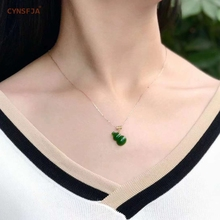 Certified Natural Hetian Jade Jasper Inlaid 18K Gold  Lucky Gourd Pendant High Quality Hand Carved Necklace Best Gifts