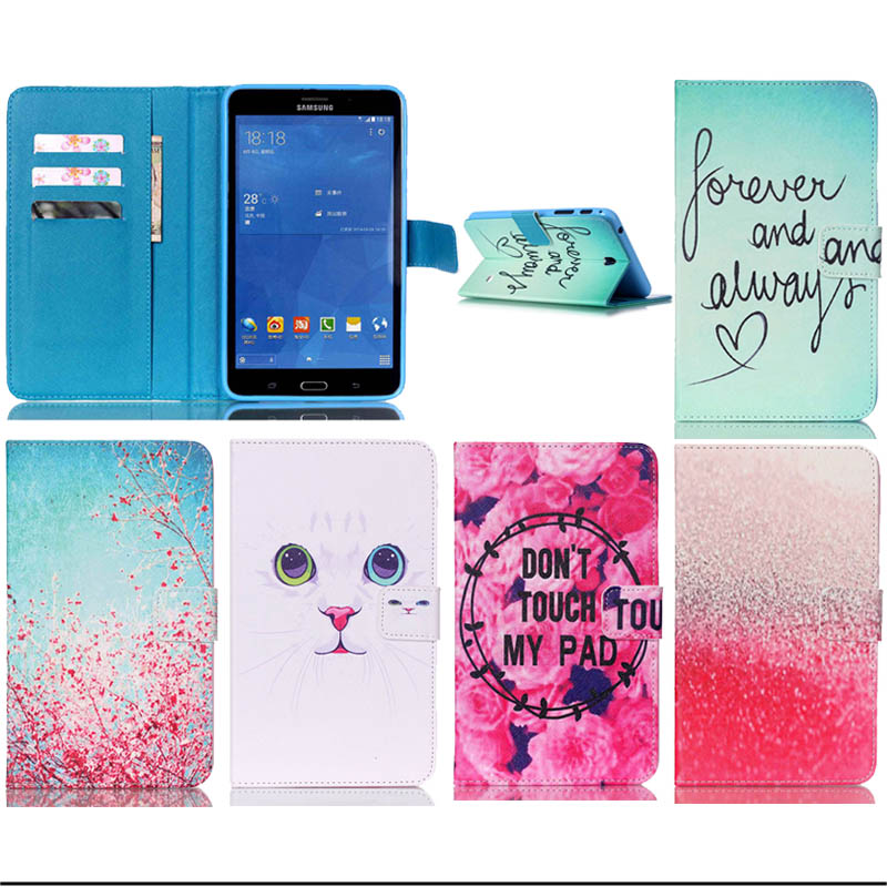 For Samsung SM-T230 Painted Stand PU Leather case Cover for Samsung Galaxy Tab 4 7.0 T230 T231 T235 tablet Accessories