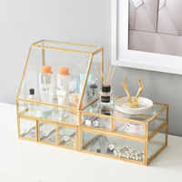 Jewelry Box European Bedroom Glass Cosmetics Dressing Table Skin Care Products Desktop Finishing Dust Flip Storage Box