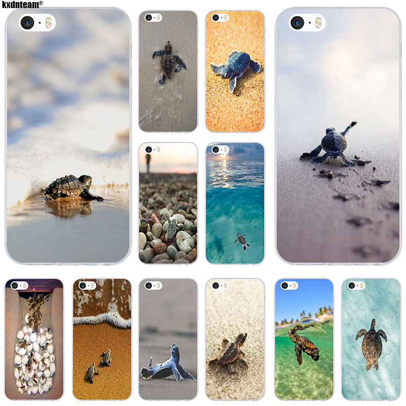 Soft TPU Silicon Phone Cases Cover 2018 New Arrival Baby Sea Turtle for iPhone 6 6S 7 8 Plus 4 4S 5 5S 5C SE X Coque Shell