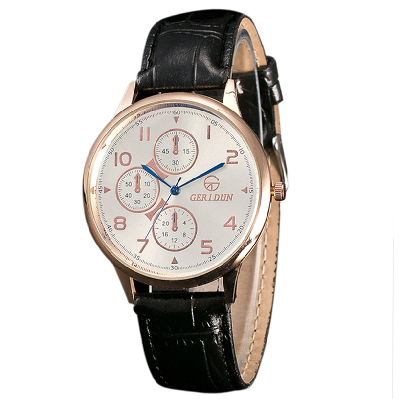 2018 High Quality Fashion Men Leather Band Watches Sport Analog Quartz Wrist Watch for gift wholesale relogio masculino