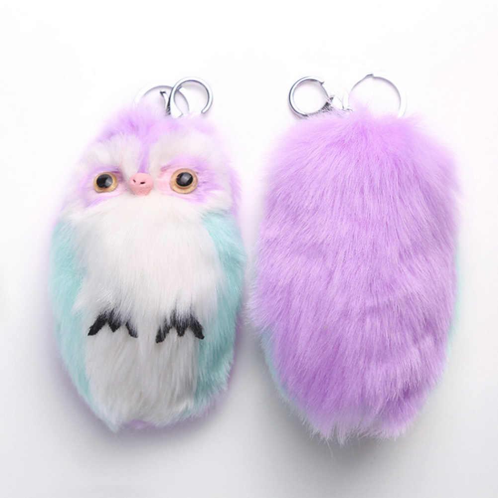 Lovely Fashion Falso Rex Rabbit Fur Pom Pom Coruja Anel Homem Mulher Bolsa Encantos Keychain Car Chaveiro Chaveiros Jóias presente do partido