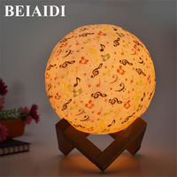 BEIAIDI Music Note 3D Print Moon Table lamp Touch Sensor Bedside Table Light Colorful Moon Lamp for Baby Kids Christmas Birthday