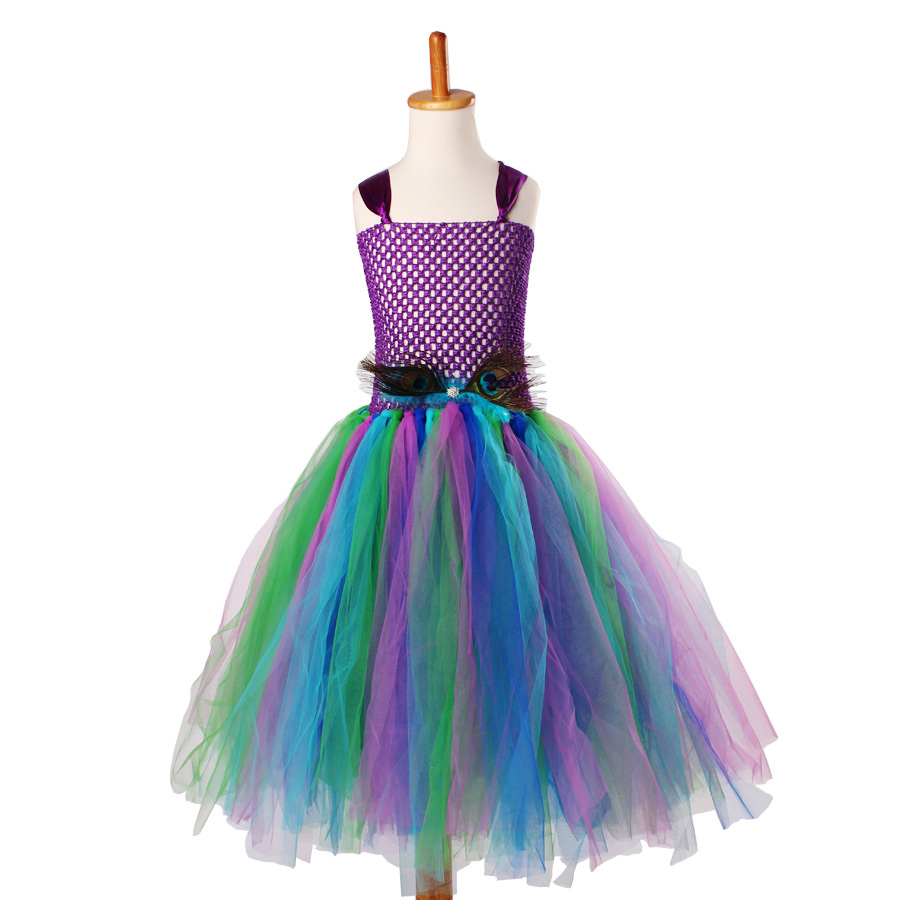 Peacock Flower Girl Tutu Dress Turquoise and Purple Tulle Wedding Dress Kids Purim Party Ball Gown Elegant Princess Prom Dress (4)
