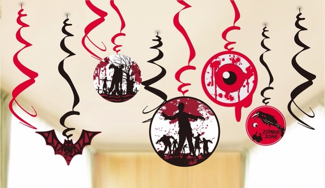 Pack of 9 Creepy Halloween Party Swirls with Cutouts of Flying ...