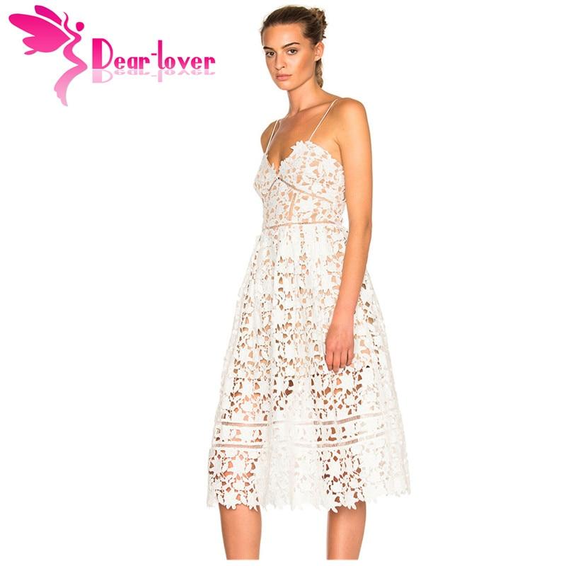 e719d0547be41 Dear Lover Party Dresses Womens Elegant Sexy spaghetti strap Lace Hollow  Out Nude Illusion Mid-Calf Dress Vestido de Renda 61636