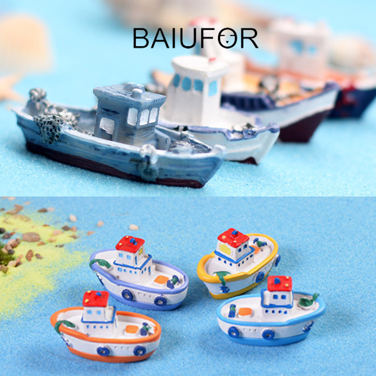 BAIUFOR Miniatures & Figurines Mini Resin Fishing Boat & Cruise Ship Model Fairy Garden & diy Terrarium Decor Home Accessories