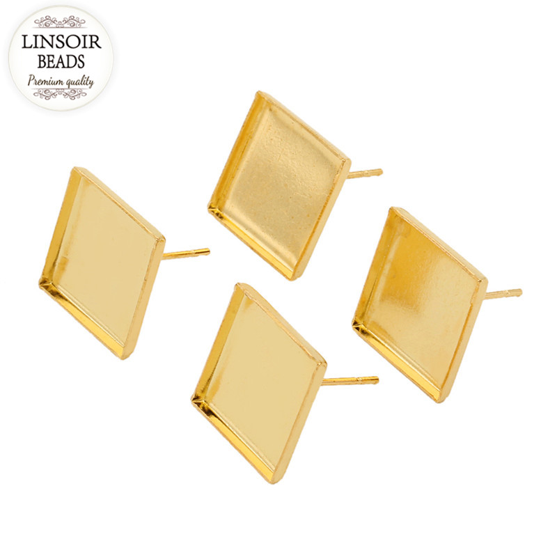 50pcs Gold Color Copper Inner Size 12mm Square Earring Stud Base Blank Earring Clip Tray Cabochon Cameo Settings Bezel K0767