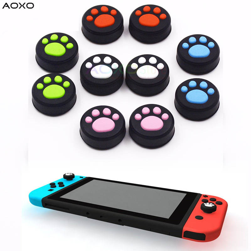 US $1 29 |AOXO 2pcs Cat Paw Anti slip Silicone Thumb Stick Grip Cap For  Nintendo Switch NX NS Joy Con Game Controller-in Replacement Parts &