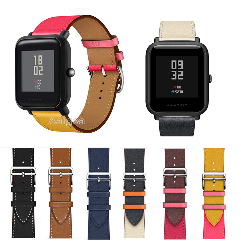 20mm Fashion Genuine Leather Watch Band <font><b>Strap</b></font> for Xiaomi Huami <font><b>Amazfit</b></font> Bip BIT PACE <font><b>Lite</b></font> Youth Replacement Wrist band <font><b>strap</b></font> new image