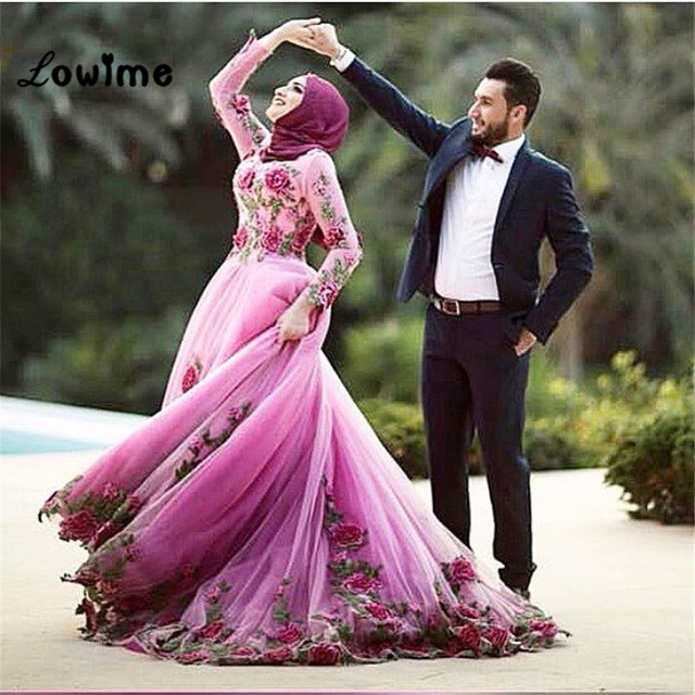 9852925e0b5d Hijab Long Sleeved Muslim Jalabiya Formal Evening Dress Floral Turkish  Engagement Prom Evening Dresses Gowns Abaya Designs Dubai