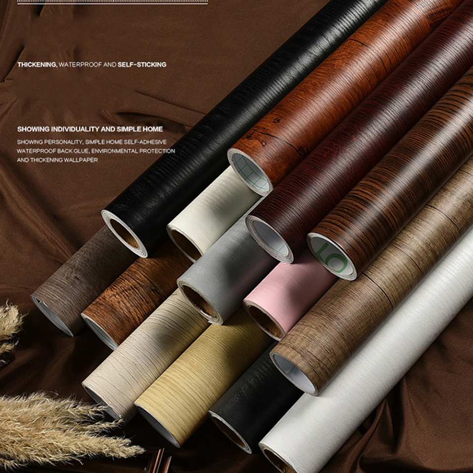 30 100cm Wood Grain Self Adhesive Wallpaper Furniture Renovation Stickers Waterproof Kitchen Cabinets Wardrobe Door Wood Decor Wall Stickers Aliexpress