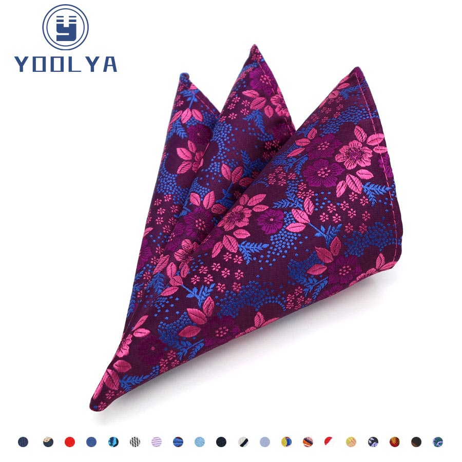 Luxury Men's Silk Handkerchief Hanky Flower Floral Jacquard Woven Pocket Square 25*25cm Chest Towel For Man Wedding Party
