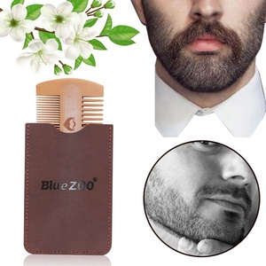 Image 2 - Double Side Pear Wood Beard Comb + PU Leather Bag  Antistatic Beard Care Portable Hair Brush Comb For Men
