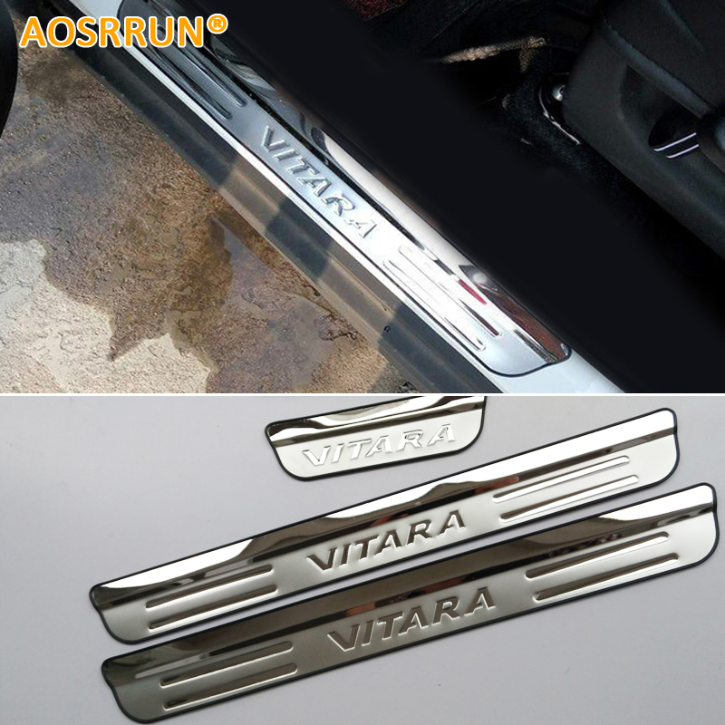 цены AOSRRUN Stainless steel Door Sill scuff plate Door pedal Car Accessories Car-Styling For Suzuki Vitara 2015 2016 4Gen