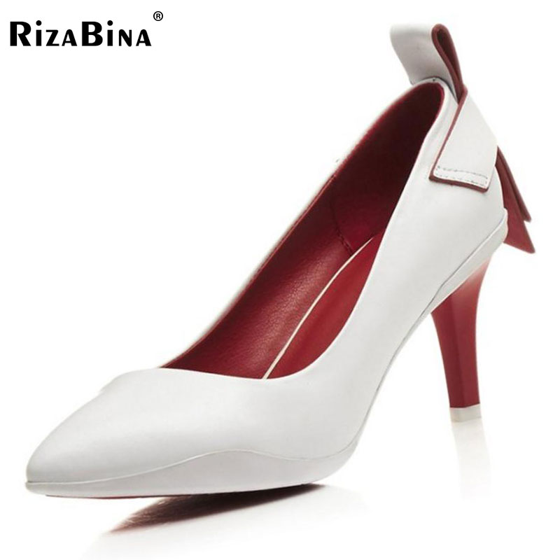RizaBina Ladies Real Leather High Heel Pumps Female Sexy Pointed Toe Slip On Shoes Woemn Party Shallow Pumps Footwear Size 33-40 fashion color patchwork pu leather strange heel shoes sexy peep toe cut out heel slip on pumps trend party date shoes