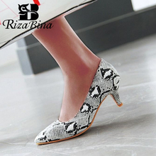 RIZABINA Plus Size 32-48 Women High Heel Shoes Fashion Basic Pumps Office Lady Party Wedding Sexy Footwear