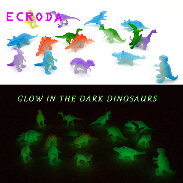 ECRODA 32Pcs 2 inch Mini Jurassic Noctilucent Dinosaur Toys Kids Glow In The Dark Dinosaurs Action & Figures  Toys