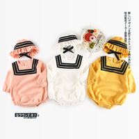 2017 New Arrival 2pcs Newborn Baby Girls Clothes Set Navy Style Long Sleeve Ruffles Romper Jumpsuit