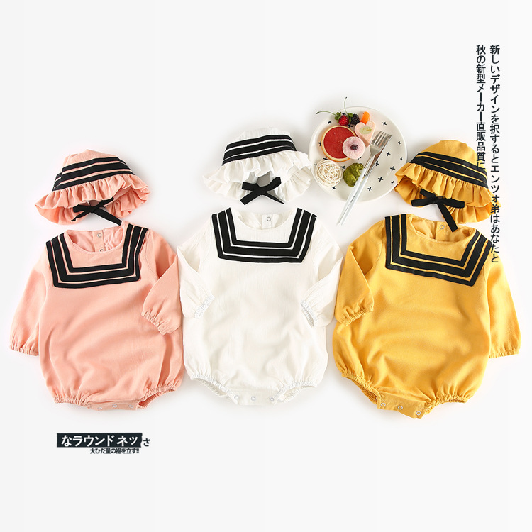 2017 New Arrival 2pcs Newborn Baby Girls Clothes Set Navy Style Long Sleeve Ruffles Romper Jumpsuit with Hat Sailor Outfits Suit 2pcs ruffles newborn baby clothes 2017 summer princess girls floral dress tops baby bloomers shorts bottom outfits sunsuit 0 24m