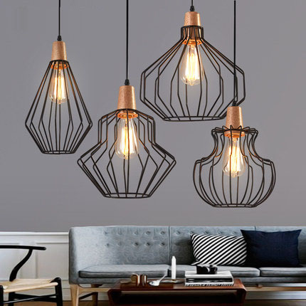 Antique Brass Wire Cage Pendant Light, Black Birdcage Pendant Lights Iron Retro Scandinavian with Led Warm Bulb Cafe Droplight tw l0603 led birdcage light yellow