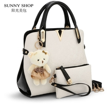 SUNNY SHOP American Fashion Embossed Designer Handbag High Quality Women Bag High Quality Shoulder Bags 2 Bags/set With bear toy