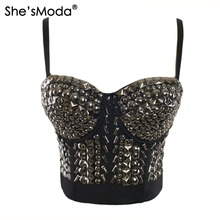 Silver Rhinestone Gaga Bustier Pearls Push Up Night Club Bralette Women's Bra Cropped Top Vest Tank Camis Plus Size