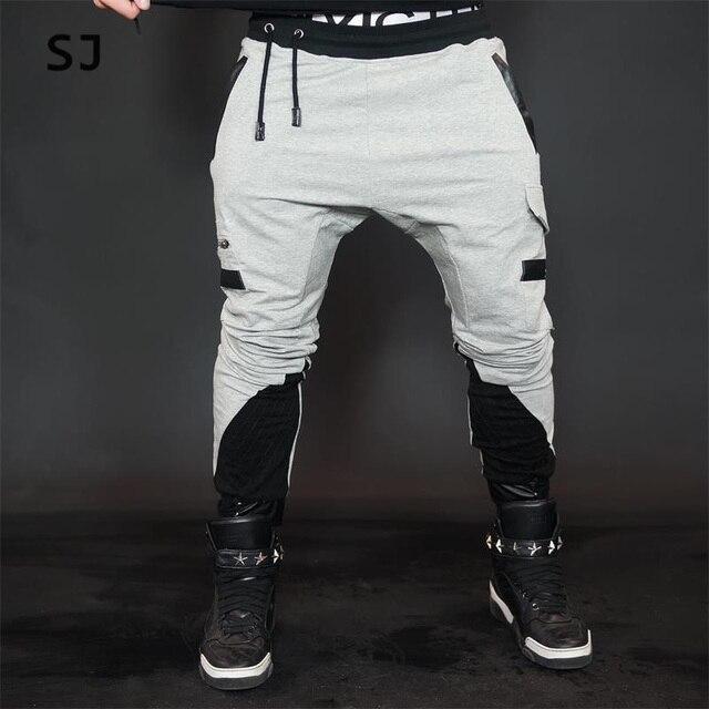 2016 fashon Фитнес Длинные Брюки Мужчины Случайные Штаны Багги Jogger Брюки Мода Встроенная Топы уличной хип-хоп