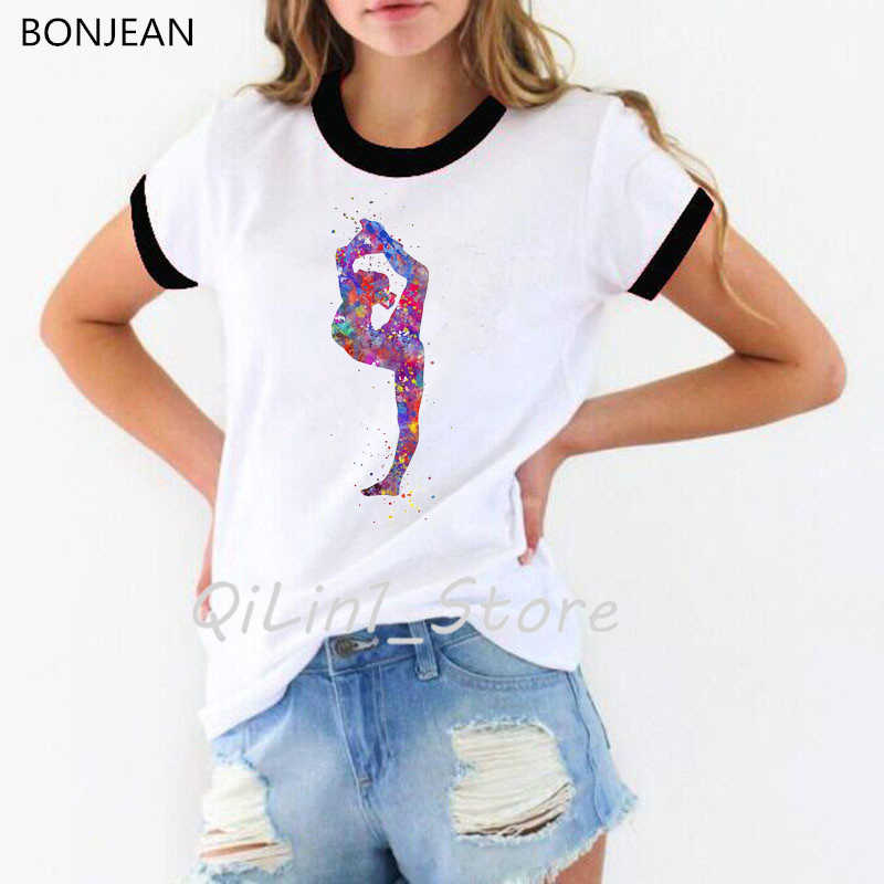 watercolor gymnastics girl printed t shirt women funny vogue tshirt femme summer tops female t-shirt streetwear