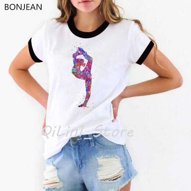 水彩体操ガールプリント tシャツ女性おかしい流行 tシャツファム夏トップス女性の tシャツストリート