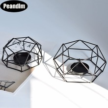 Peandim Geometry Small Tealight Candle Holders Tabletop Aritist Craft Black Metal Wire Candlestick Home Decor Valentine's Gift