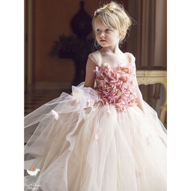 Pink Champagne Hydrangea Flower Girl Dress Elastic Handmade Children Wedding Birthday Party Tulle Tutu Dresses Fairy Clothes