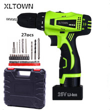 Xltown 25v two-speed rechargeable lithium battery electric screwdriver with Plastic box packaging Electric screwdriver drill bit