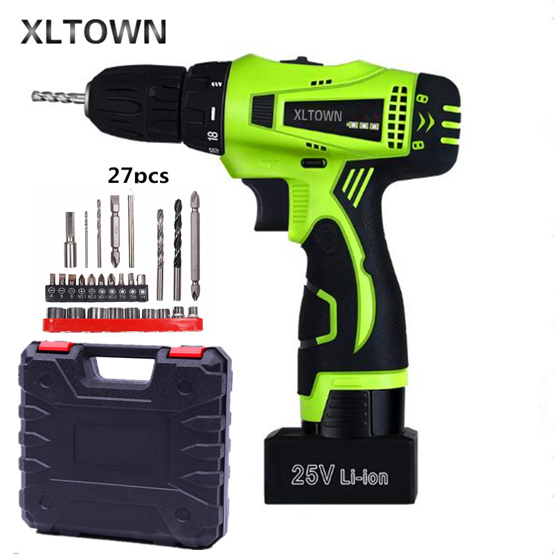 Xltown 25v two-speed rechargeable lithium battery electric screwdriver with Plastic box packaging Electric screwdriver drill bit replacement rechargeable 3 7v 2000mah lithium battery pack with screwdriver for nintendo 3ds