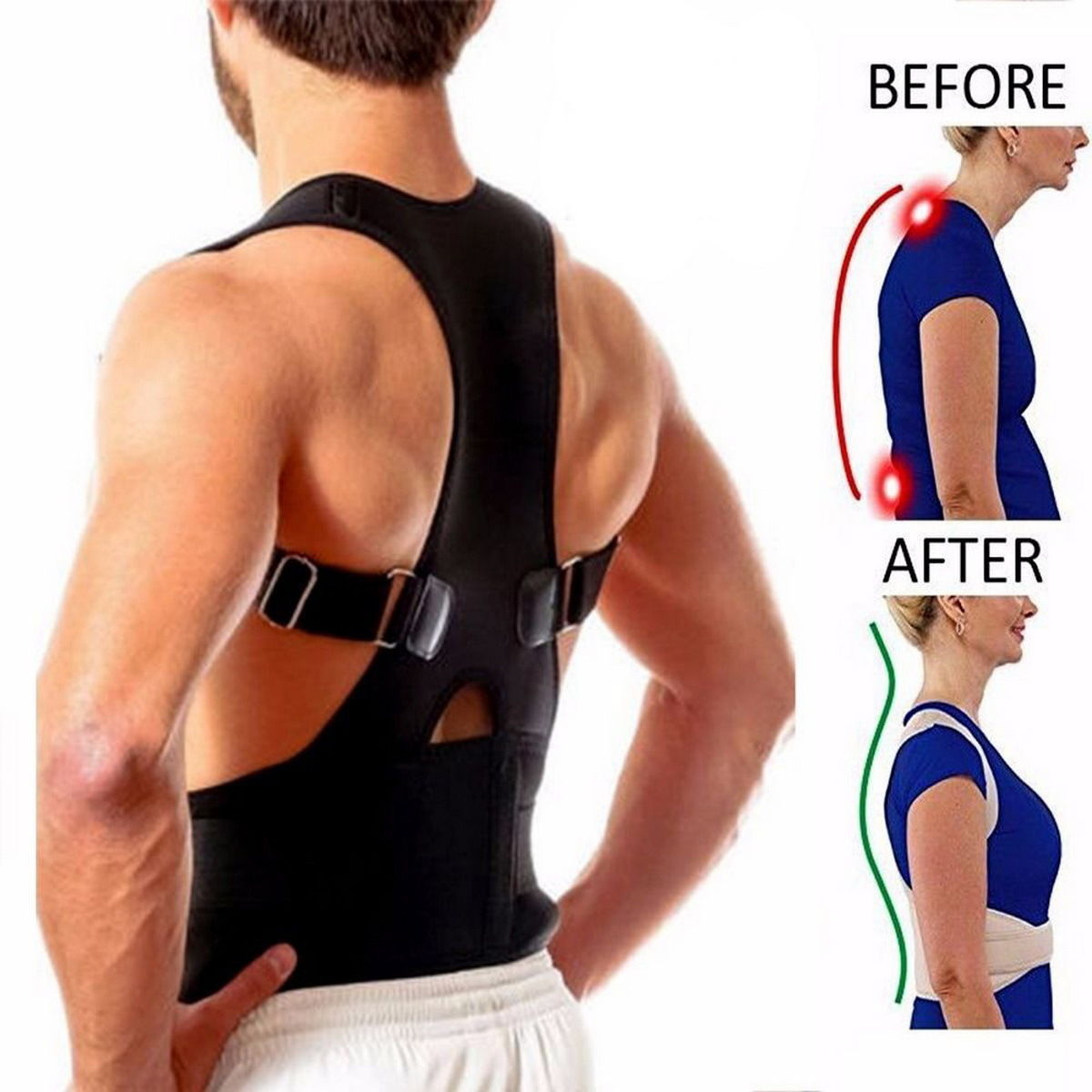 2019 Magnetic Posture Men Back Corrector Shoulder Support Lumbar Lower Back Support Strap Belt Type B With Magnet-Therapy Brace