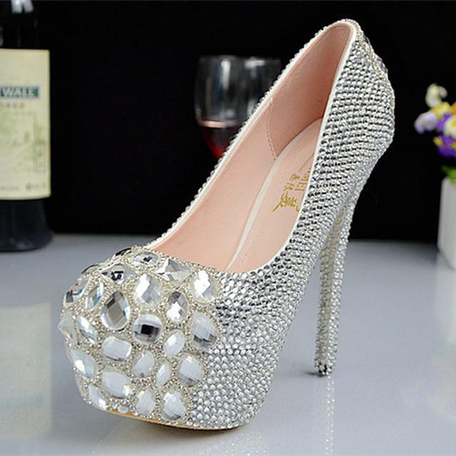2018 New Luxury Fashion Handmade Crystal princess wedding shoes rhinestone  dinner party bridal ultra high heel 1199f7c82178