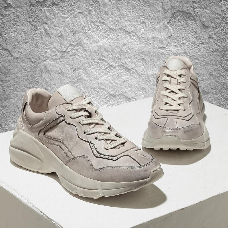 Movimiento Cuero Ocasional Zapato Vaca Beige Primavera Zapatillas Genuino Vintage Real Zapatos Antideslizante Maneras Antiguas Hombres 2018 Sucia De FBvwqH6O