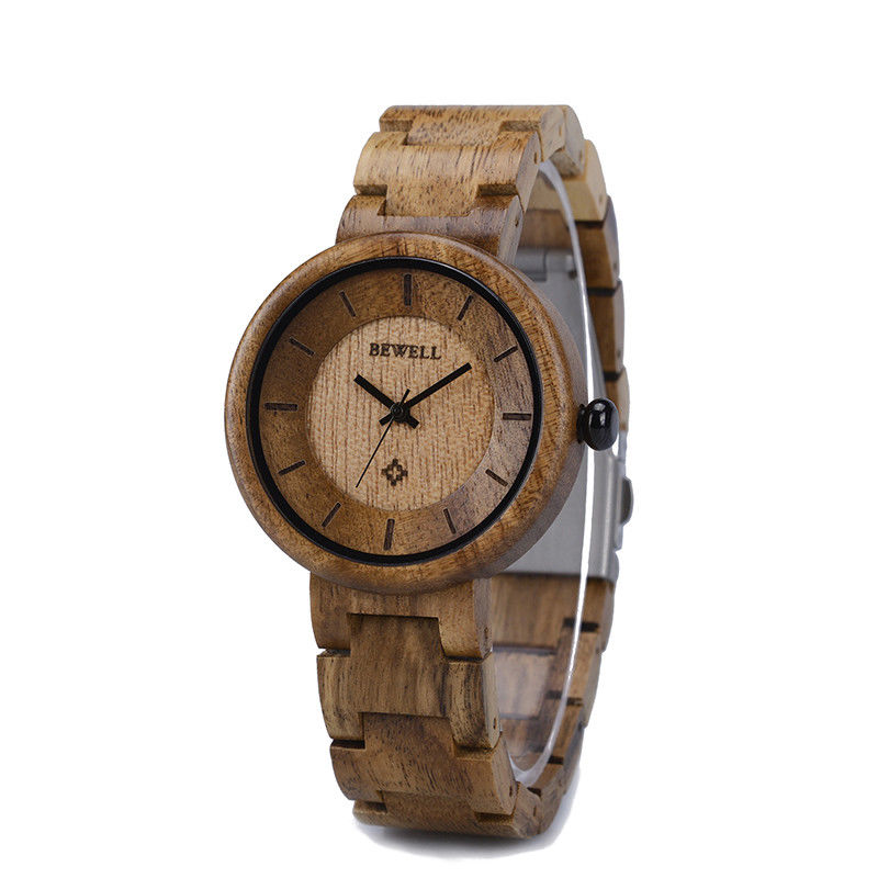 BEWELL Wrist Watches Quartz Female Fashion Ladies Wood 155A Girls