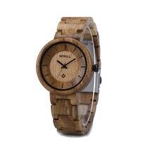 BEWELL Bewell מותג שעון קוורץ גבירותיי עץ אופנה יד שעונים נשים שעוני יד בנות נקבה 155A