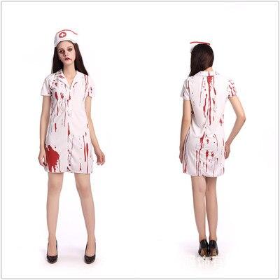 f7a72f8e28d64 Halloween costume zombie service vampire bloody horror hospital nurse  zombie cosplay costume white bloody nurse ghost