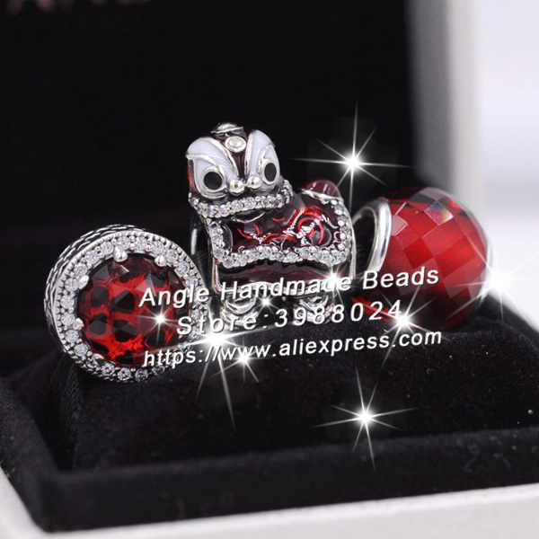 3pcs S925 Sterling Silver Chinese Red lion Dance Cz Charms Jewelry Set Fit DIY Bracelets Necklaces Jewelry Making Woman Gift брелок silver angel 120pcs diy 14x22mm a428 fit slide bracelets necklaces jewelry findings
