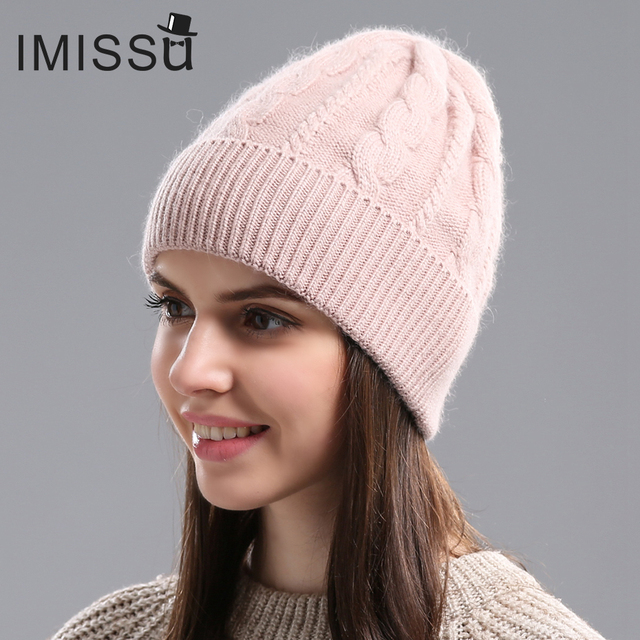 c919914243e7fa IMISSU Autumn Winter Beanies Women's Winter Hats Knitted Wool Skullies  Casual Cap Solid Colors Gorros Bonnet