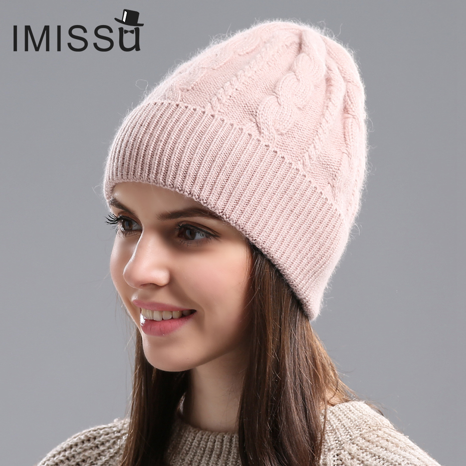 IMISSU Autumn Winter   Beanies   Women's Winter Hats Knitted Wool   Skullies   Casual Cap Solid Colors Gorros Bonnet Femme Hat for Girls