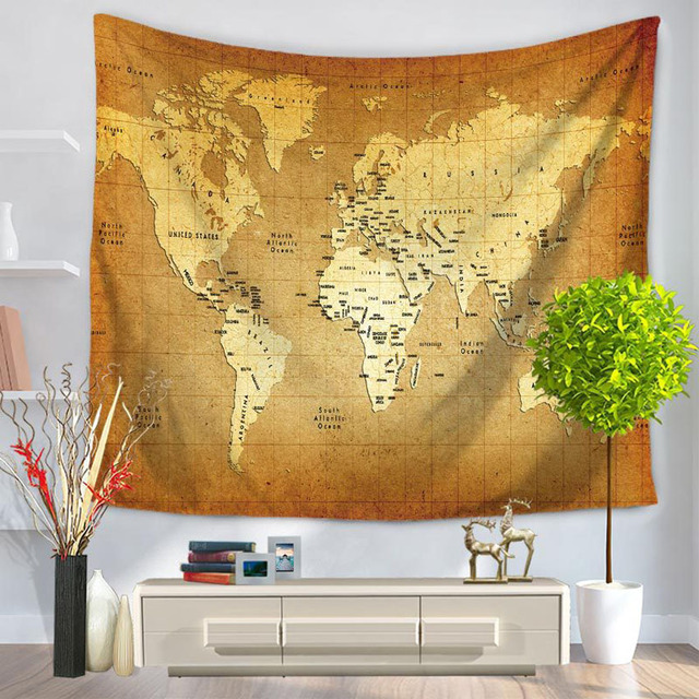 World map print wall hangings tapestry bohemia polyester mandala world map print wall hangings tapestry bohemia polyester mandala tapestry indian sheet bedding sofa large cover gumiabroncs Gallery