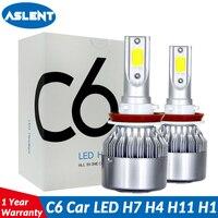 Aslent C6 светодиодный фар автомобиля H7 светодиодный H4 лампы HB2 H1 H3 H11 HB3 9005 HB4 9006 9004 9007 9012 72 Вт 8000lm Авто Противотуманные фары 12 V