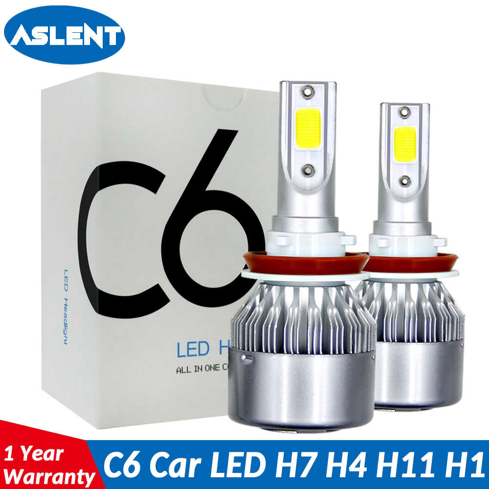 Aslent C6 led Car Headlight H7 LED H4 Bulb HB2 H1 H3 H11 HB3 9005 HB4 9006 9004 9007 9012 72W 8000lm Auto Lamps Fog Lights 12V