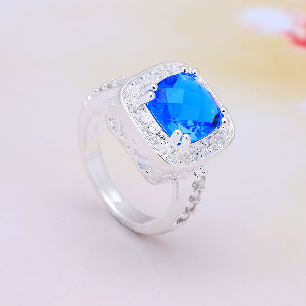 2016 large silver plated women wedding ring hot sale square crystal jewelry wholesale vintage lady vintage luxury finger ring
